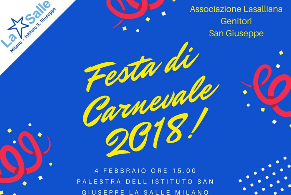 Istituto San Giuseppe La Salle Milano Festa di Carnevale 2018 Associazione Lasalliana Genitori_Head
