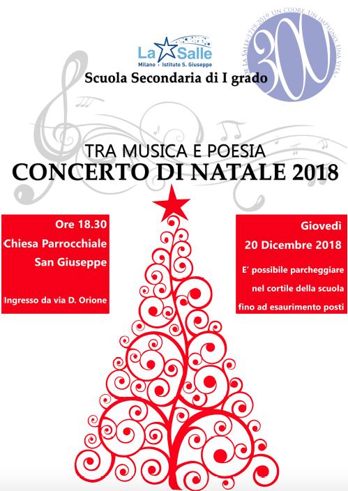 Istituto San Giuseppe La Salle Milano Scuola Secondaria Concerto di Natale 2018 Locandina