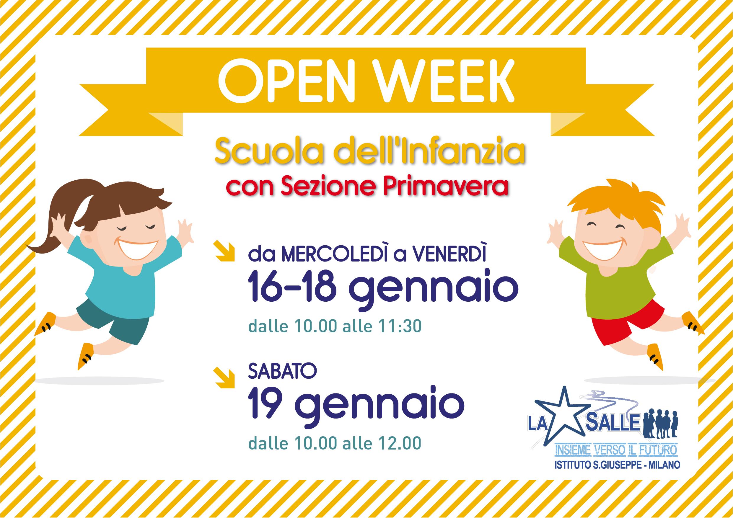 Istituto San Giuseppe La Salle Milano Open Week Scuola dell'Infanzia 2018-2019