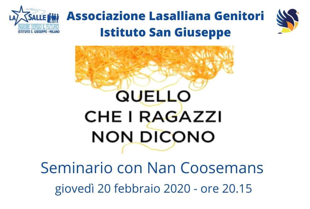 Istituto San Giuseppe La Salle Milano Associazione Lasalliana Genitori Seminario Quello che i ragazzi non dicono Nan Coosemans_Head