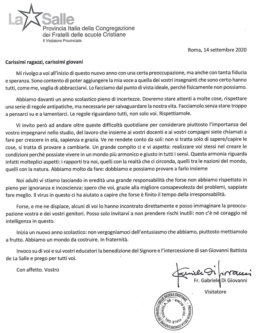 Lettera Inizio Anno Scolastico 2020-2021 Visitatore Provinciale Fratel Gabriele Di Giovanni