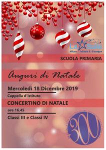 Istituto San Giuseppe La Salle Milano Scuola Primaria Classi 3 e 4 Natale 2019 Auguri Feste