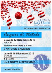 Istituto San Giuseppe La Salle Milano Scuola dell'Infanzia Natale 2019 Feste Auguri